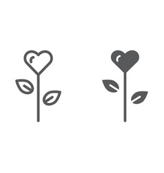 love flower line and glyph icon floral and vector image