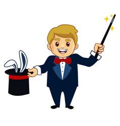 Magician mascot cartoon vector