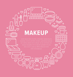 Makeup beauty care pink circle poster with flat vector