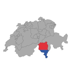 Map of Switzerland with flag of Ticino vector image