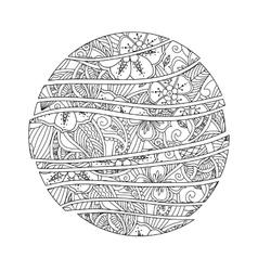 Mehndi mandala abstract wave circle with flowers vector