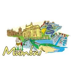 mumbai doodles vector image