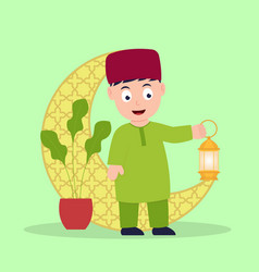 muslim kids holding lantern vector image