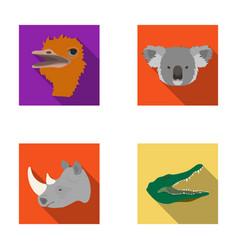 Ostrich koala rhinoceros crocodile realistic vector