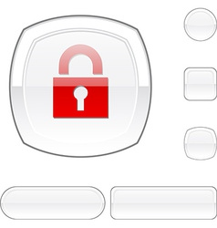 Padlock white button vector