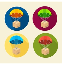 parachutes icons set vector image