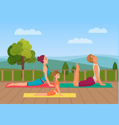 Parents with girl kid does yoga various exercises vector