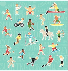 Pattern with sportsmen vector