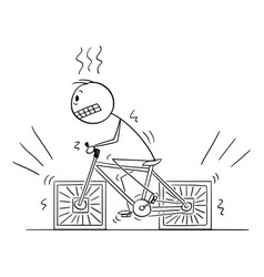 Person riding bicycle with square wheels cartoon vector