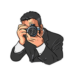 Photographer is at work vector