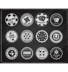 Poker chalkboard labels set vector image