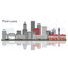 Portland oregon city skyline with gray buildings vector