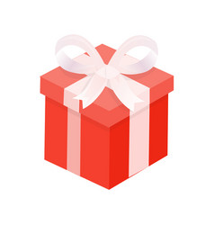 Present with winding wide ribbon and bow vector