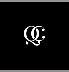 Q c letter logo creative design on black color vector