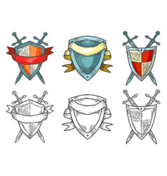 retro or vintage sketches medieval shields vector image