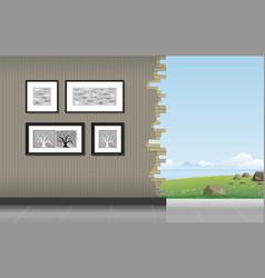Room with a hole vector