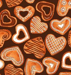 seamless pattern watercolor heart cookies vector image