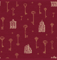 seamless pattern with vintage keys and old vector image