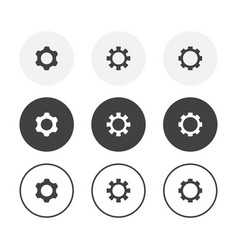 set 3 simple design gear icons rounded vector image