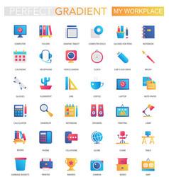 set trendy flat gradient my workspace vector image