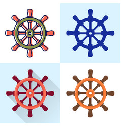 ship steering wheel icon set in flat and line vector image