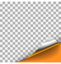Silver curled corner with orange background vector
