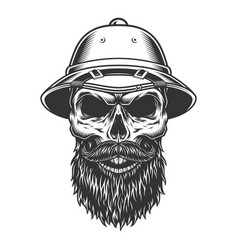 skull in the safari hat vector image