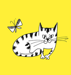 Sly cat hand drawn vector