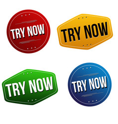 try now sticker or label set vector image