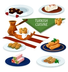 Turkish cuisine desserts menu cartoon icon vector image
