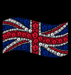 Waving great britain flag pattern of amoeba items vector