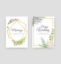 wedding floral posters elegant invitation cards vector image