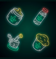 Weed products neon light icons set cbd drink and vector