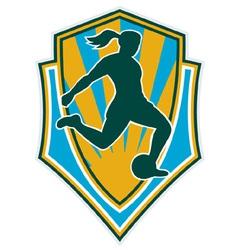 Woman girl playing soccer kicking vector