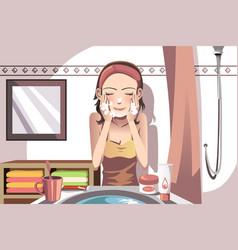 Woman washing face vector