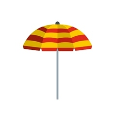 Yellow and red beach umbrella icon flat style vector image