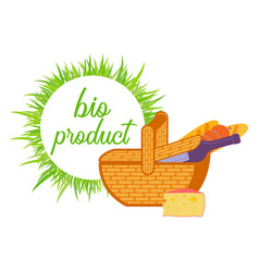 basket with wine bread and cheese flat vector image