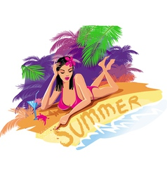 beautiful sexy woman on the beach vector image