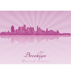 Brooklyn skyline in purple radiant orchid vector image vector image