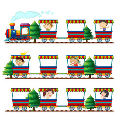 children riding on trains vector image vector image