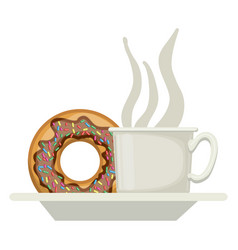 coffee cup and donut with chocolate glaze on dish vector image