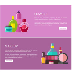 cosmetic and makeup web set vector image