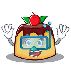 Diving pudding character cartoon style vector