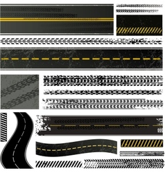 road and tire tracks vector image vector image