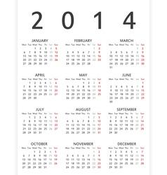 Simple 2014 year calendar vector image