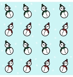 Snowmen and snowflakes pattern vector image