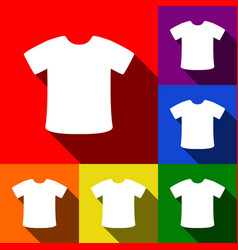 t-shirt sign set of icons with flat vector image