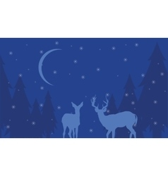 At night deer scenery winter of silhouettes vector image vector image