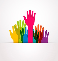 colored raised hands presentation vector image