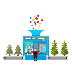 Factory machine for release of beautiful Christmas vector image vector image